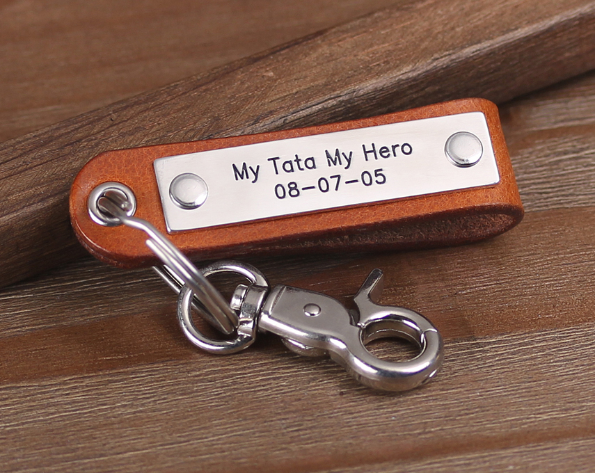 Personalized Dad Gift - Fathers Day Gift - Mens Leather Keychain - Gift Idea for Dad - Personalized With Any TextPersonalized Dad Gift - Fathers Day Gift - Mens Leather Keychain - Gift Idea for Dad - Personalized With Any Text