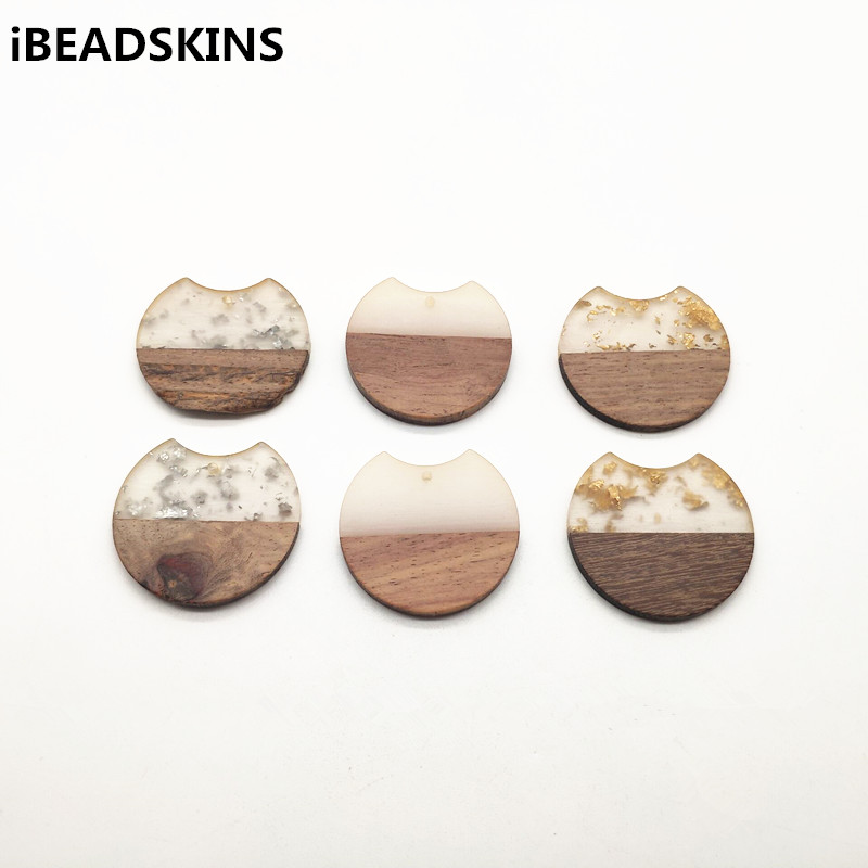 New arrival!37x35mm 30pcs round shape wood with Resin charm for stud earrings,earrings accessories,Earring parts,jewelry DIY-in Jewelry Findings & Components from Jewelry & Accessories