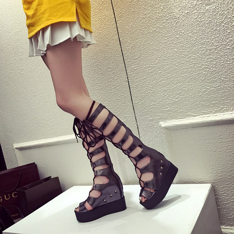 934036520d8 Designer Open Toe Knee High Gladiator Sandals Women Cut out Summer Boots  Lace up Gladiator Wedges Shoes Woman 2199-in Women s Sandals from Shoes on  ...