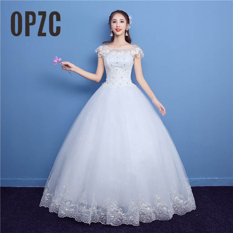 Korean Lace Up Ball Gown Sweet Neck Wedding Dresses 2018 New Fashion Cap Sleeve Customized Plus