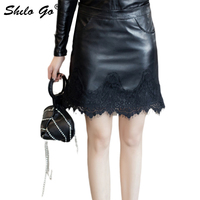 Lace Leather Skirt Womens Summer Elegant High Waist Sheepskin Genuine Leather Hot Skirt Office Lady Zip Female Pencil Skirts