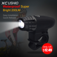 2017 Waterproof Super Bright 200LM USB Rechargeable Bike LED Front Light Power Head Flashing Cycling Bicycle