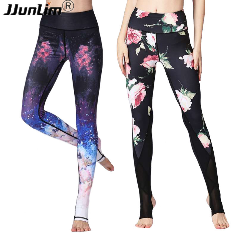 High Waist Women Flower Printed Yoga Pant Slim Sports Leggings Sportswear Workout Fitness Pants Running Leggings Sport Trousers