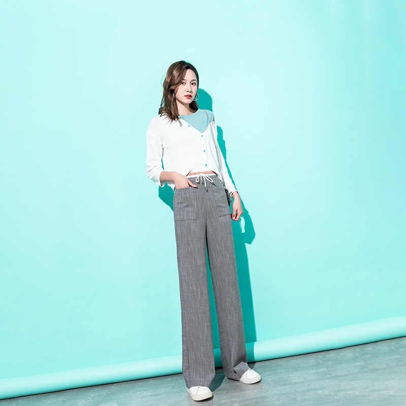Mulheres De Cintura Alta Largas Calças Perna Verão 2019 Cinza Streetwear Solto Calças Capri Palazzo Calças Elegantes Coreano Roupas Femininas 2019