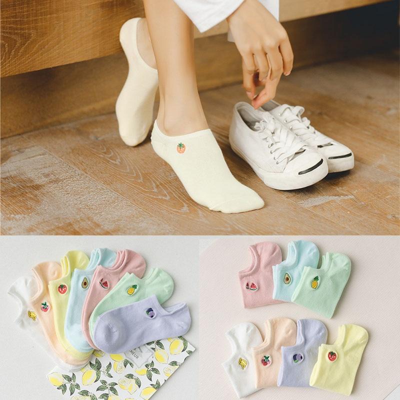Cute Cartoon Fruit Print Avocado Banana Cherry Peach Girls Kawaii Socks Korean Harajuku Embroidery Funny Socks