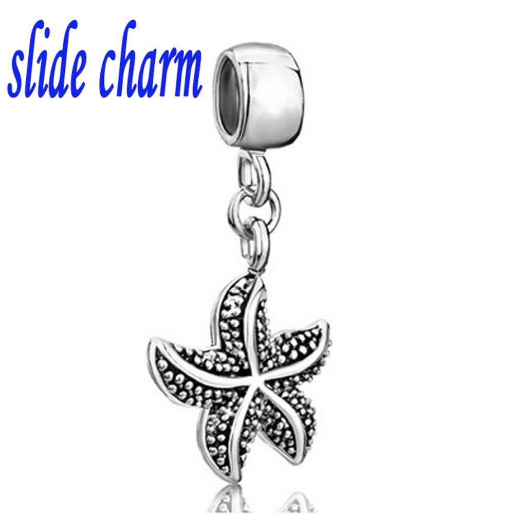 48c525ec1 slide charmFree shipping Valentine's Day gift and children living marine starfish  pendant beads fit Pandora charm bracelets