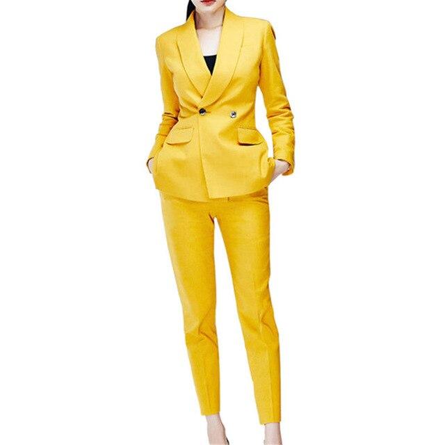 Kadın Giyim'ten Pant./Ceket Takımlar'de 2019 Moda Sarı Kruvaze kadın Slim Fit 2 Adet Takım Elbise Kadın Ofis Üniforma Tarzı Smokin Takım Elbise Dos Piezas mujer'da  Grup 1