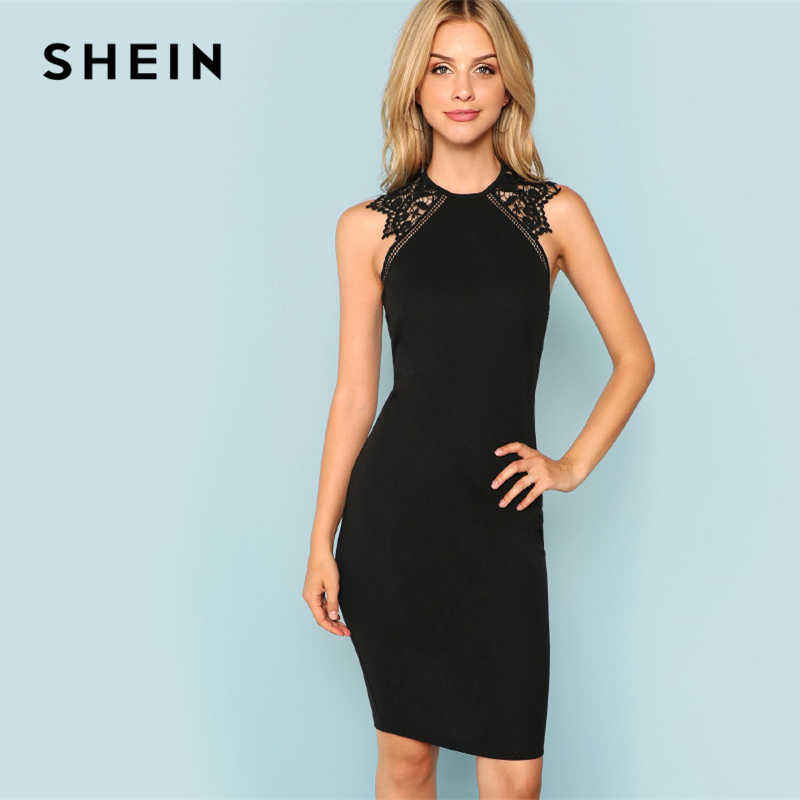 161734601f SHEIN Black Party Contrast Lace Insert Armhole Bodycon Sleeveless Natural  Waist Solid Dress 2018 Summer Women