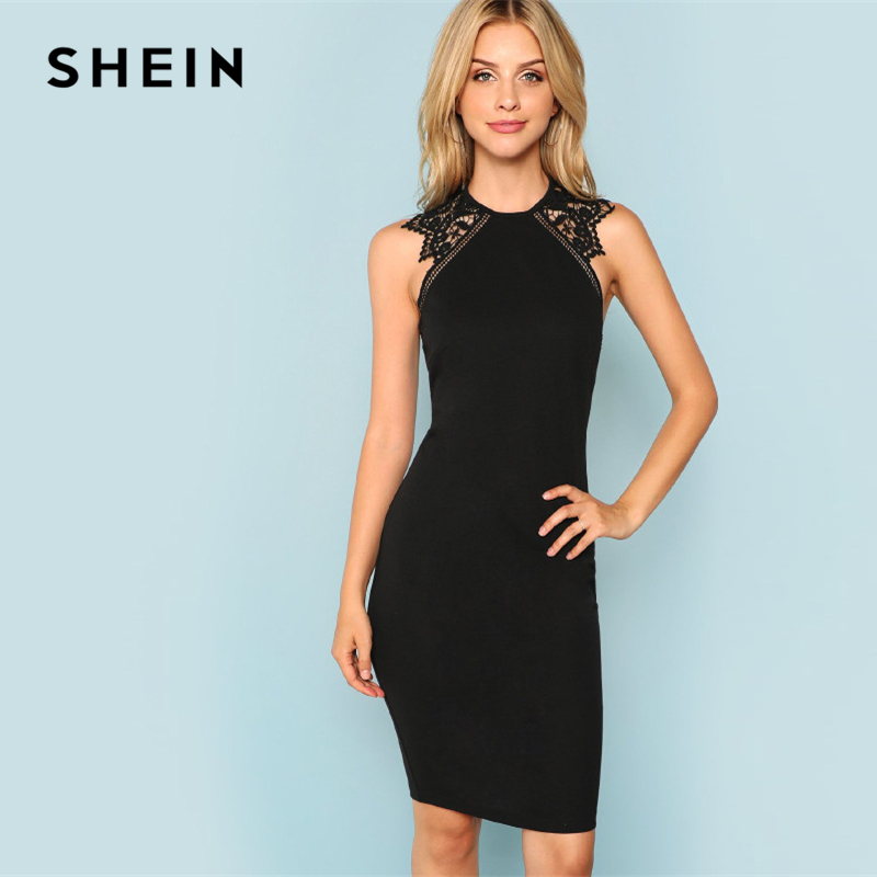 SHEIN Black <font><b>Party</b></font> Contrast Lace Insert Armhole Bodycon Sleeveless Natural Waist Solid Dress <font><b>2018</b></font> Summer Women <font><b>Sexy</b></font> Dresses image
