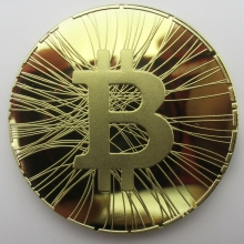 Bitcoin FIRST BITCOIN ATM Okcoin Gold Medal Copy Coin Souvenir Metal Craft Coins