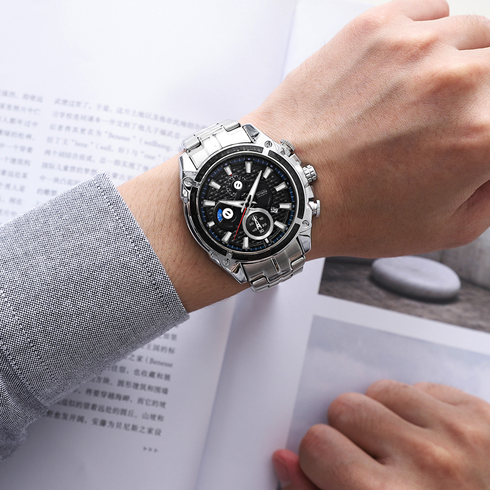 Top Brand Luxury Golden Watches Men Stainless Steel Strap Fashion TEMEITE Waterproof Quartz Wristwatch Calendar Oversize Clock 32