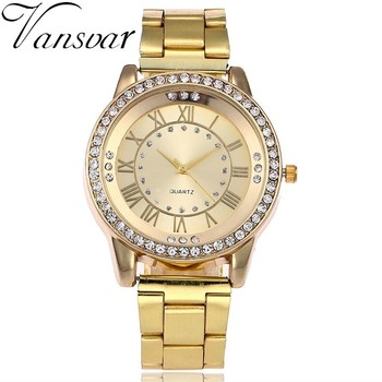 Vansvar Brand Gold Watch Luxury Women Dress Rhinestone Quartz Watch Casual Women Stainless Steel Wristwatches Female Clock