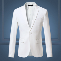2018 Spring and Autumn Large Size Men's Casual Flow of Pure Color Blazers Men, High Quality Gentleman Men Slim Casual White Suit