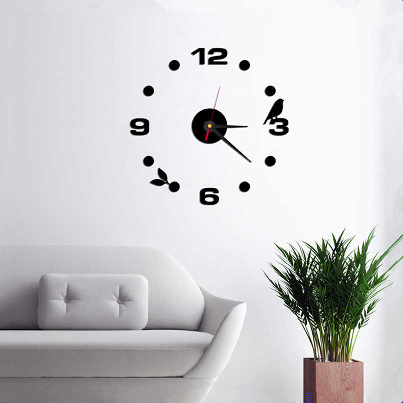 New 3D Wall Clock Acrylic Simple Clock Modern Design DIY Roman Digital Wall Stickers Home Decor Living Room Stickers On The Wall