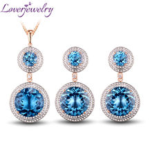 Solid 14Kt Rose Gold Fantastic Natural Diamond Jewelry Set Topaz Earrings Pendant Gem Hot Sale