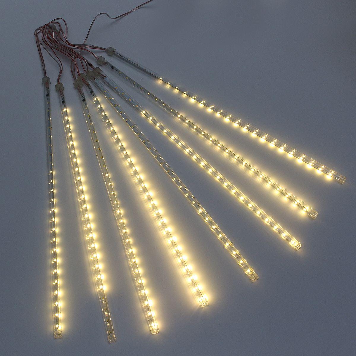 8 Tube Meteor Shower Rain Light 50CM 30 LED Strip Light Waterproof LED String Light Warm White EU Plug AC 220V