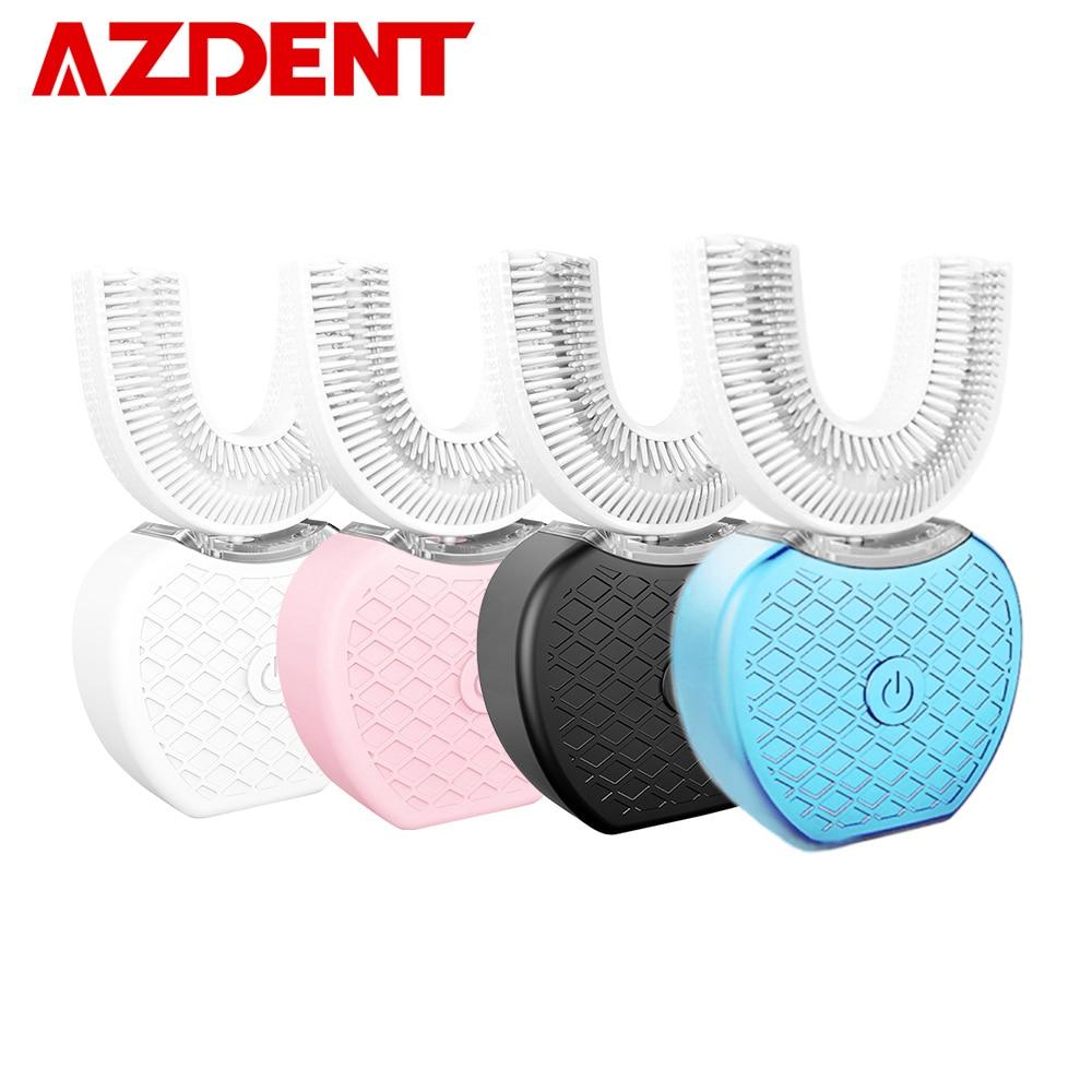 360 grados sonic dientes eléctrico automático USB recargable inteligente sonic dientes de silicio 4 modos U tipo temporizador