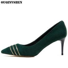 OUQINVSHEN Pointed Toe High Heel Pumps Thin Heels Casual Fashion Single Shoes Shallow Stripe Girl Pumps Stiletto heel High Heels