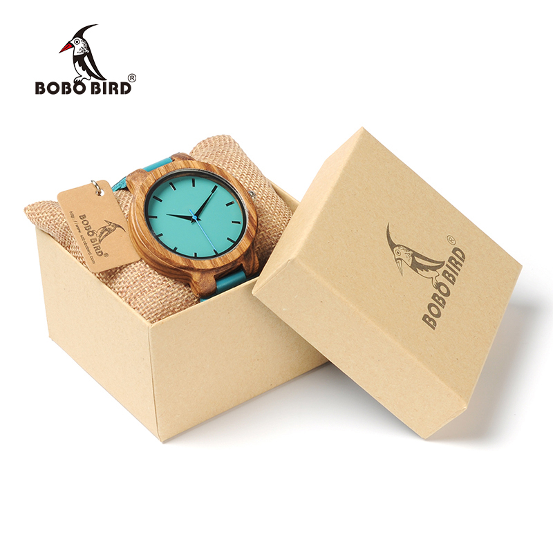 BOBO BIRD Lovers Watch Menn Elegant Turkis Blue Leather Watches Kvinner Stilig Quartz Wristwratch Reloj Mujer C-C28