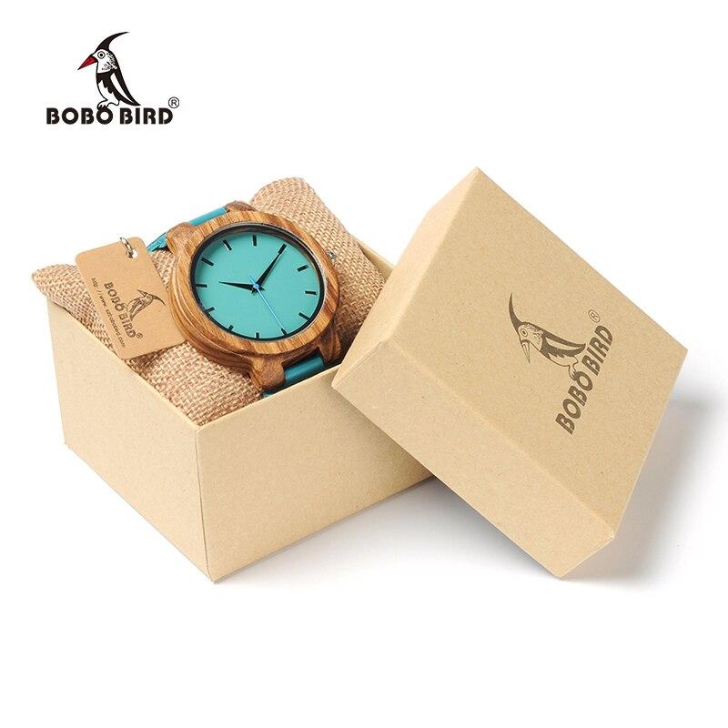 BOBO VOGEL Liebhaber Uhr Männer Elegante Türkis Blau Leder Uhren Frauen Stilvolle Quarz Wristwratch reloj mujer C-C28