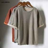 Aolamegs T Shirt Men Harajuku Style Tshirt Mens Drop Shoulder Short Sleeved Tee Fashion Casual Solid