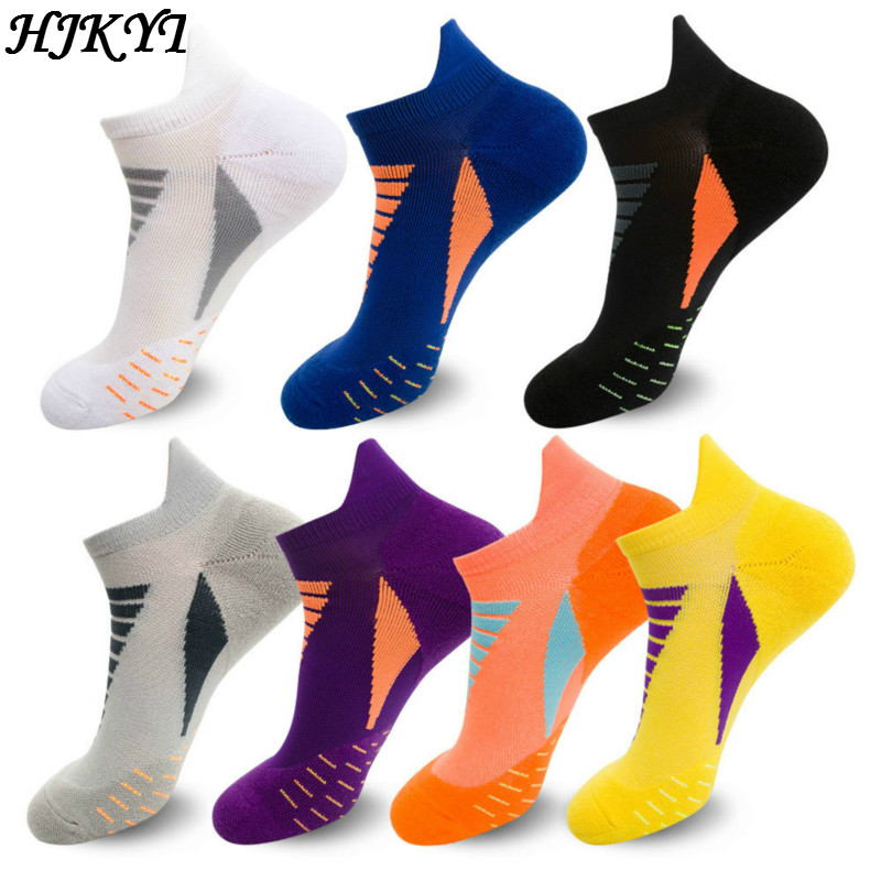 HJKYT Summer Half Pressure Soccer Sports Socks Compression 100 Cotton Homme Short Basket White Black Wool Colorful Invisible