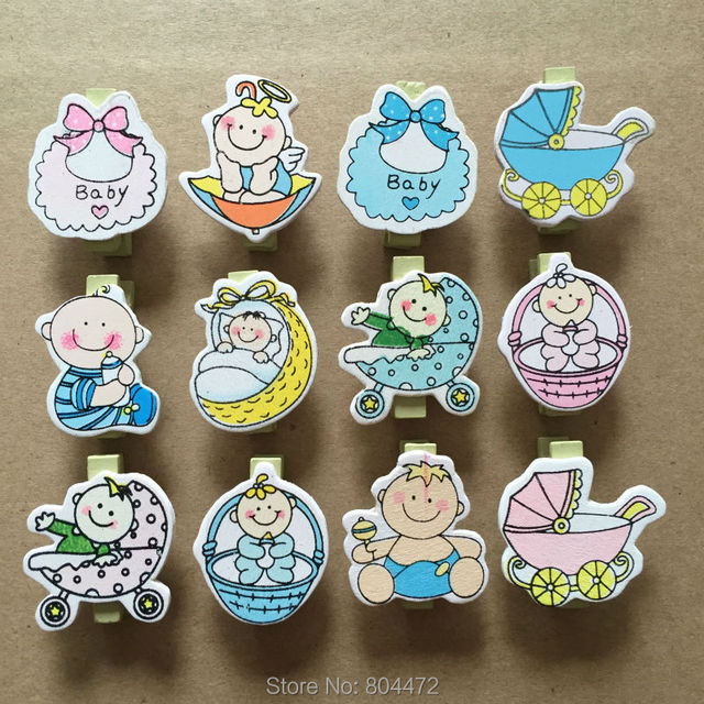 48 Pieces Baby Shower Craft Clothespins Mini Wooden Clothes Peg | Clip |  Clothespin | Boy