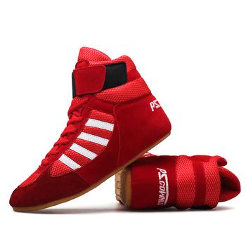 Autentyczne buty zapaśnicze VeriSign dla mężczyzn buty treningowe ścięgna na końcu skórzane trampki profesjonalne buty bokserskie tanie i dobre opinie Wrestling buty Dla dorosłych latex Oświetlony Wodoodporna Oddychające Wysokość zwiększenie Masaż Prawdziwej skóry
