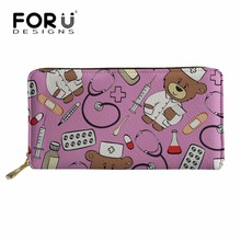 FORUDESIGNS Cute Cartoon Bear Nurse Printing Women Wallets for Credit Card Ladies Long PU Leather Purse Cluth Money Bag Girl