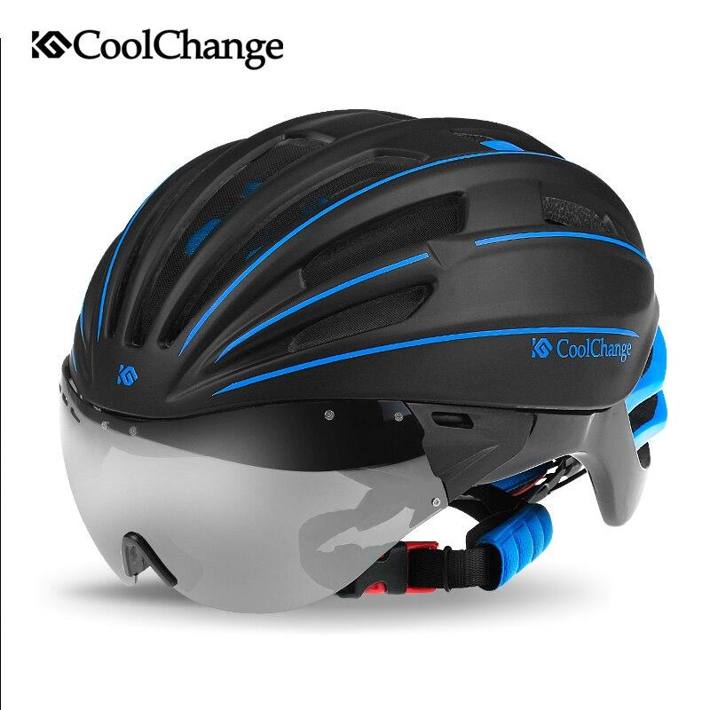 Цена за Coolchange шлем с очками очки мужчин и женщин езда на велосипеде оборудования отлиты шлем