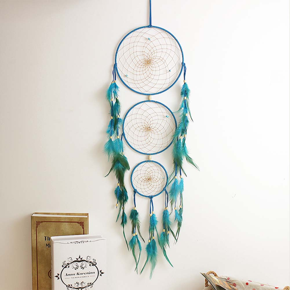 Handmade Indian Blue Dream Catcher Net With feathers Wall Hanging Craft Gift