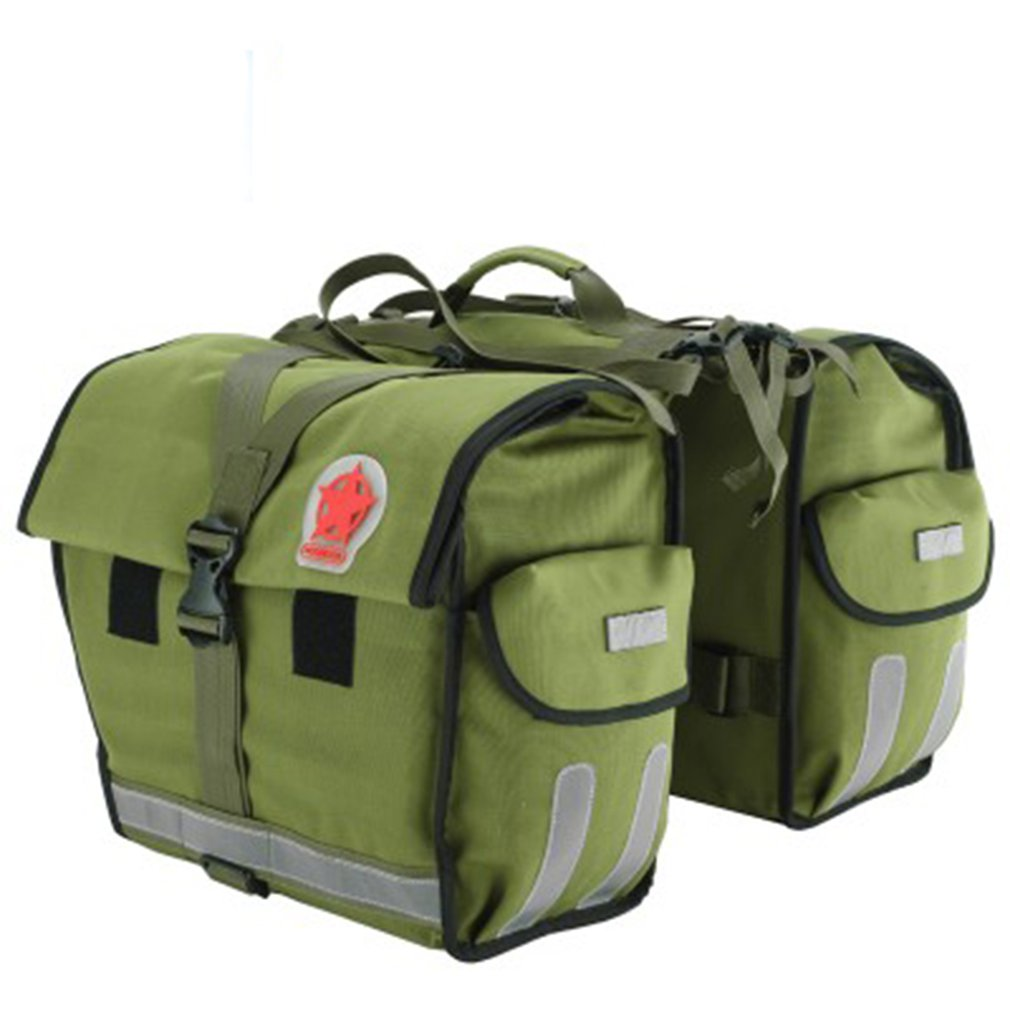 ROSWHEEL Light Green Canvas Waterproof Double Bicycle Pannier Rear Seat Bag Bike Pouch 40-50L Bike Trunk Rack Bag Carrier BagROSWHEEL Light Green Canvas Waterproof Double Bicycle Pannier Rear Seat Bag Bike Pouch 40-50L Bike Trunk Rack Bag Carrier Bag