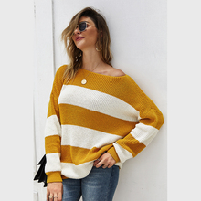 Diwish Women Autumn Sweater O-Neck Pullovers Striped Casual Daily Style Pullovers Loose Knitted Clothing Knit Sweater Women