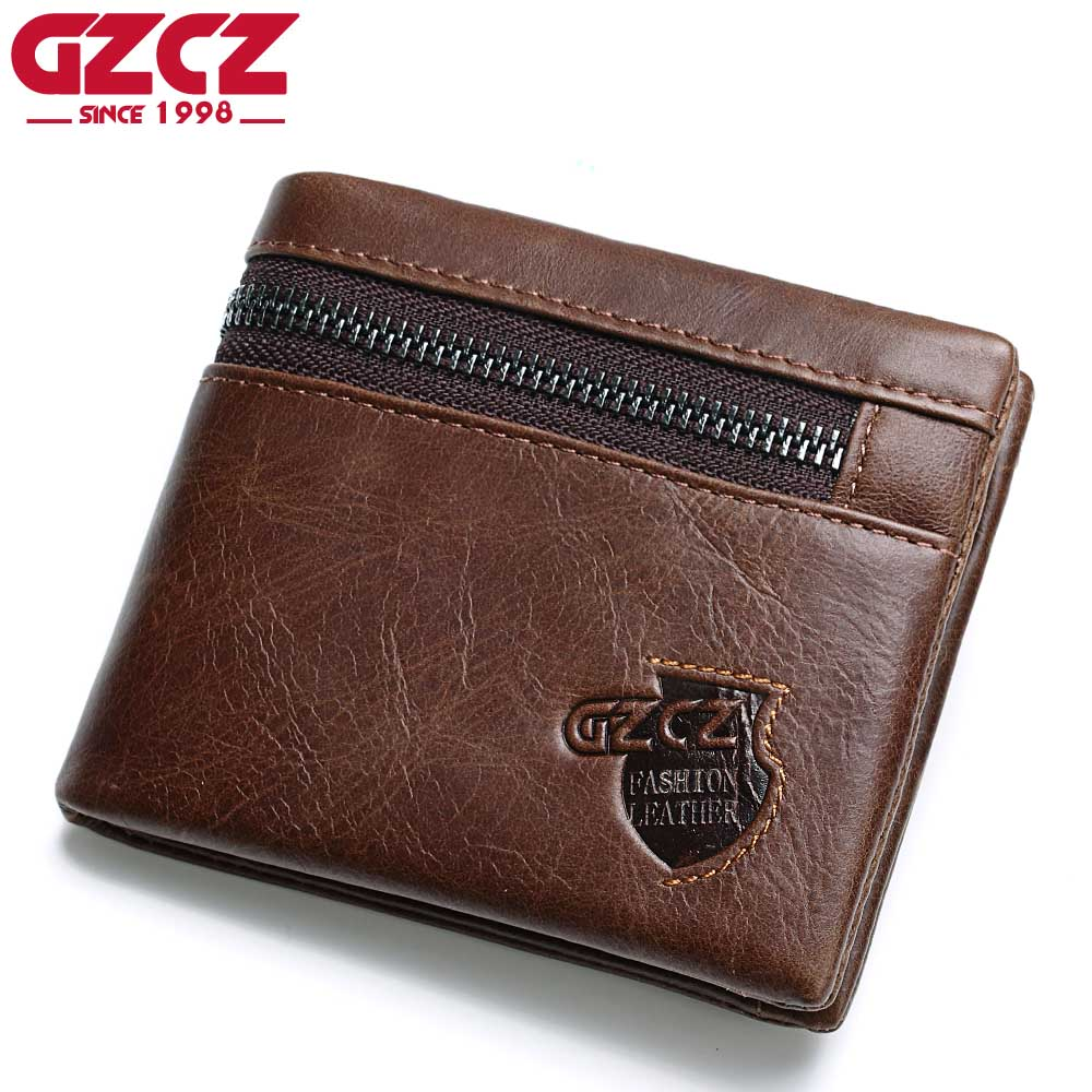 GZCZ Genuine Leather Wallet Men Zipper Design Bifold Short Male Clutch With Card Holder Mini Coin Purse Crazy Horse PORTFOLIO crazy horse leather billfolds wallet card holder leather card case for men 8056r 1
