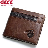 Real Cow Leather Mens Wallets Brand Logo Zipper Design Bifold Short Men Purse Male Clutch With