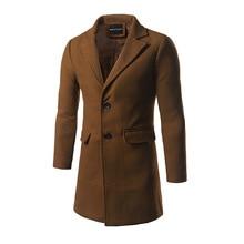 Зима новый мужской длинный однобортный размер Мужские досуг теплые шерстяные пальто пальто