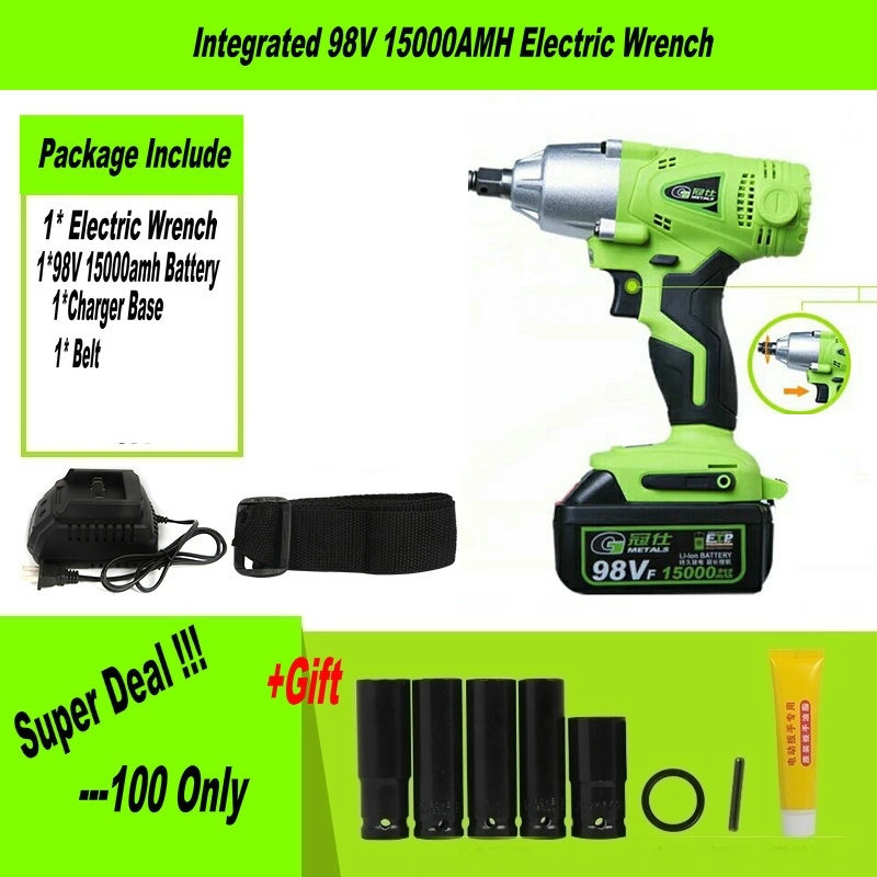98tv 15000mah 21v Cordless Electric Wrench Impact Socket Li Battery Hand Drill Hammer Installation