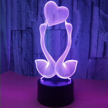 Gift for girlfriend 7 Color Change 3D Hologram Swan heart Lamp party favor anniversary present Valentine's day gift