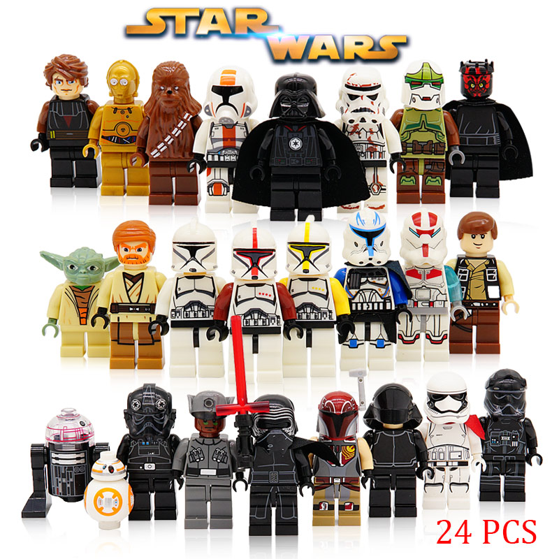 24pcs/lot Building Blocks Compatible with LegoINGlys Starwars Yoda BB8 Toys Kids Action Figure Star Wars LegoINGly Force Awakens