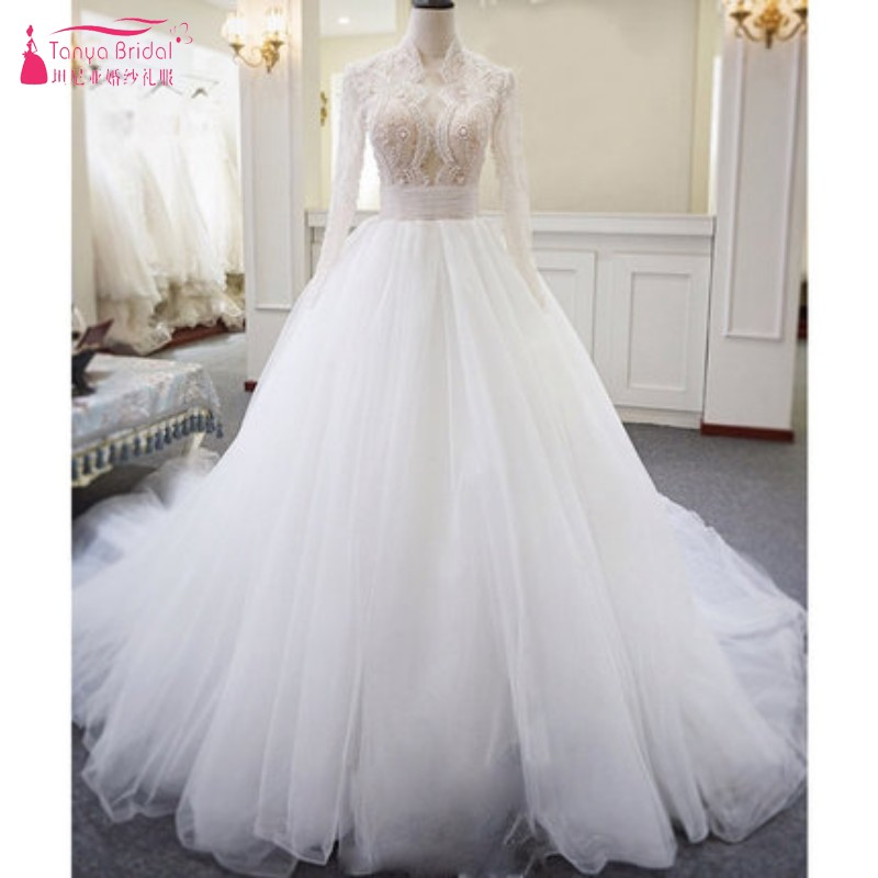 Long Sleeves A Line Lace Tulle Wedding Dresses 2018 Illusion Body Sexy Bridal Dress With Pearls