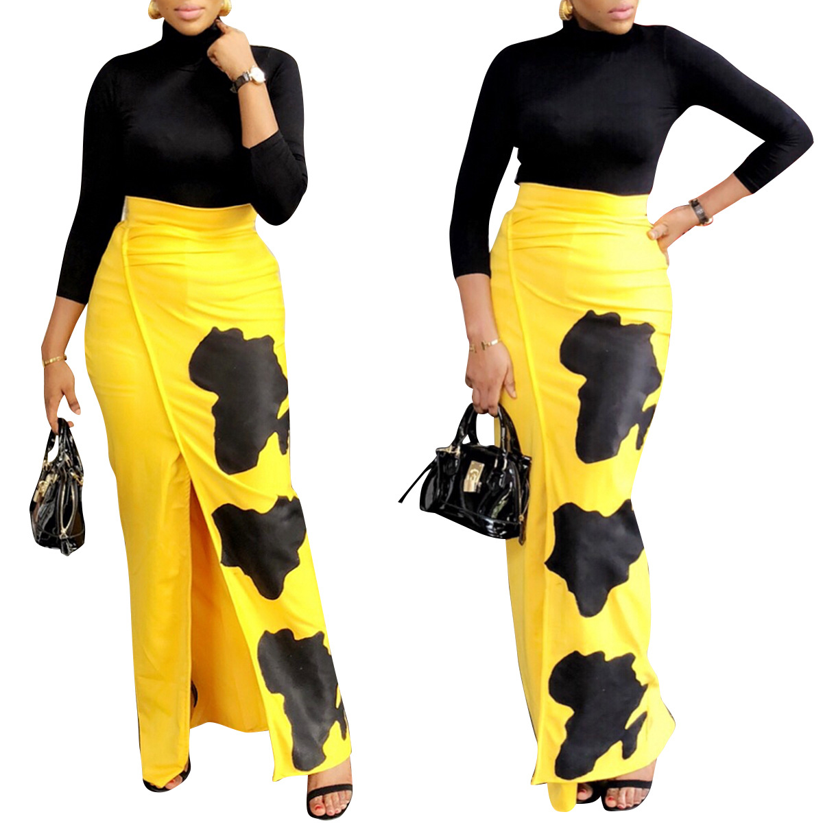 2019 Fashion African Women Skirt Summer Skirts Digital Printing Floor-Length Elegant Vestidos High Waist Vintage Skirts