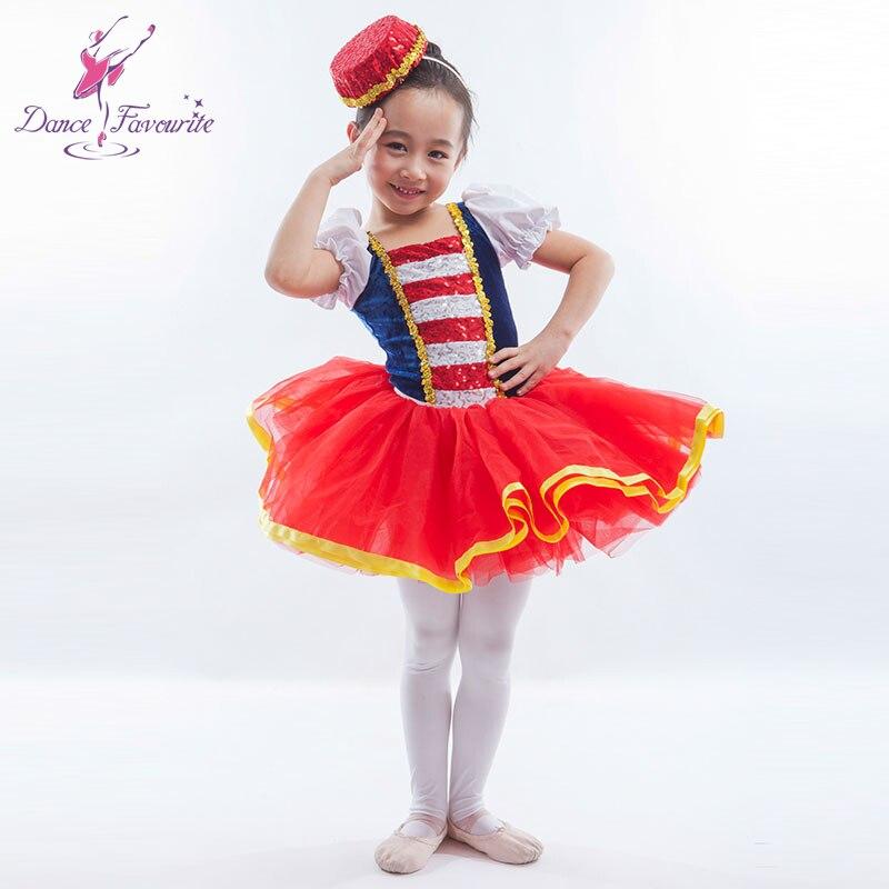 new arrival sequin and blue velvet red tulle ballet tutu girl stage performance ballet costume