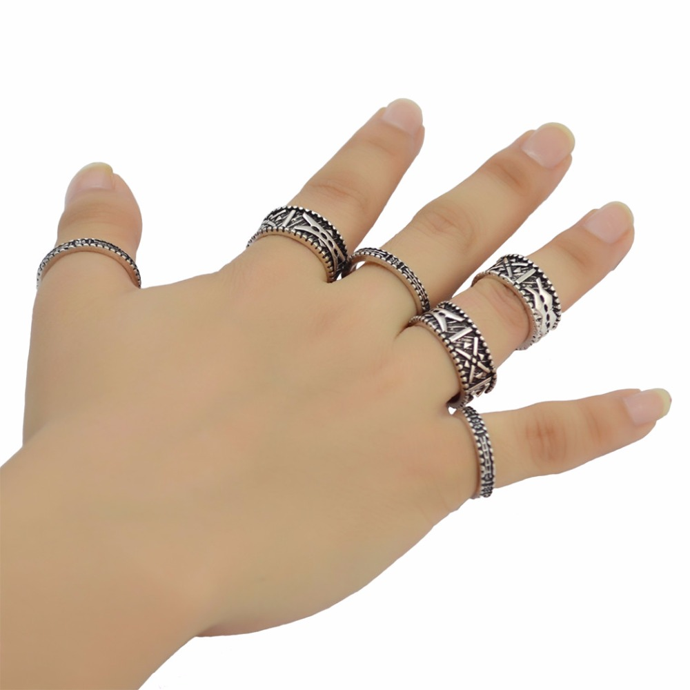 6Pcs/set Bohemian Punk Antique Silver Carved Finger Ring Gypsy Joint Knuckle Nail Midi Rings For Women Jewelry Free Shipping
