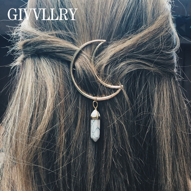 GIVVLLRY Vintage New Moon Metal Hair Pins Fashion Jewelry Elegant Hexagon  Prism Stone Charms Hair Clip Accessories for Women 5bd1e4c68340