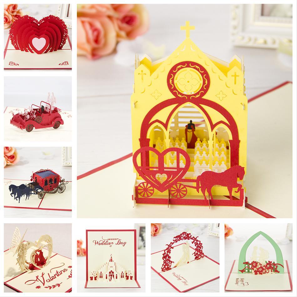 Kirigami 3d Pop Up Card Handmade Wedding Theme Greeting Cards 8pcs
