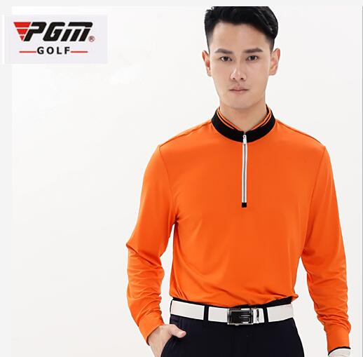 PGM Spring autumn Mens Golf Polo Shirts Breathable Elastic Long sleeve Half zip collar Golf Tshirts Men Quick Dry Tennis Shirt