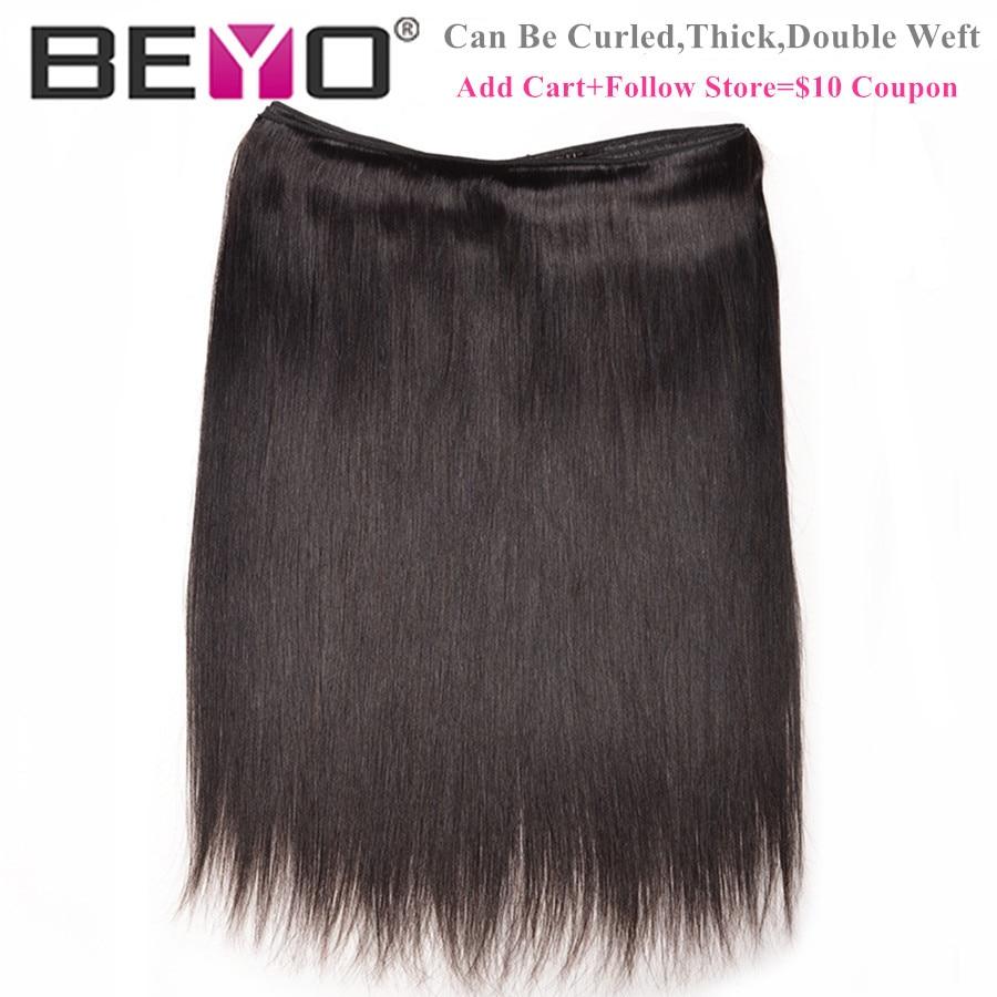 Beyo Straight Hair Bundles 100% Human Hair Bundles Non-Remy - Mänskligt hår (svart) - Foto 3
