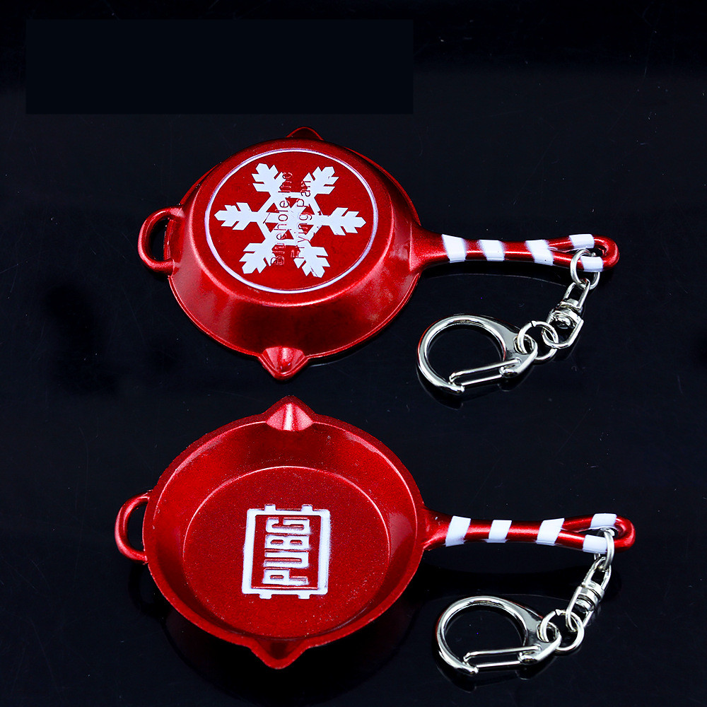 Sweet-Tempered Game Playerunknowns Battlegrounds Pubg Frying Pan Cosplay Props Pan Christmas Snowflake Alloy Armor Kids Adult Toy Keychain New Costume Props Novelty & Special Use