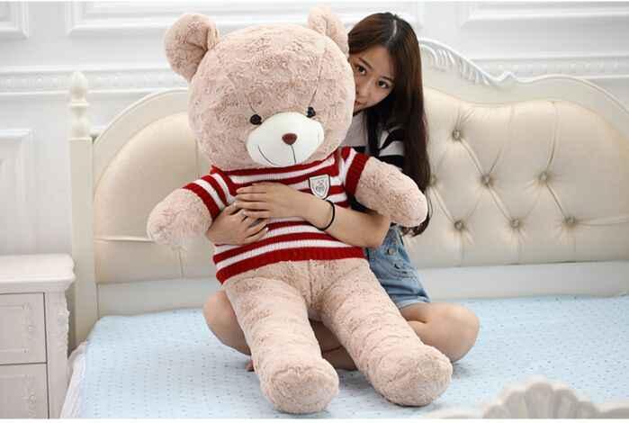 Brinquedo cerca de recheios 80 cm ursinho de brinquedo de pelúcia listras vermelhas camisola urso macio lance boneca travesseiro presente de Natal b1298