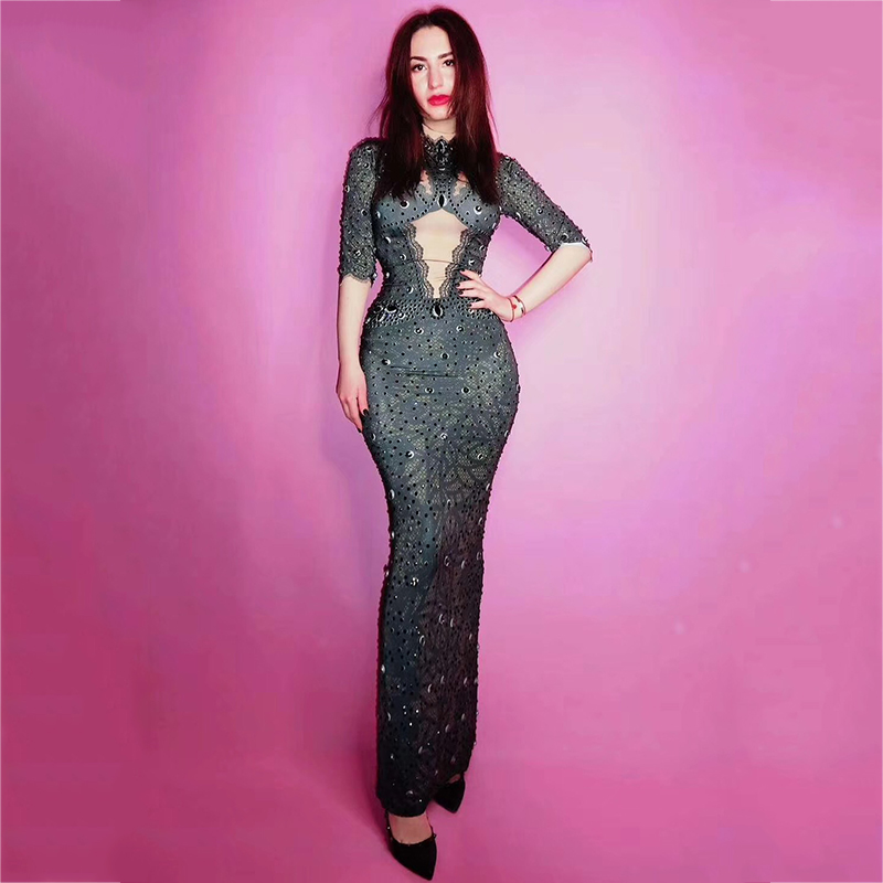 Full Black Rhinestones Slim Long Dress Big Stretch Suit Wear Female Dancing Bar Show Evening Birthday Party Stage Dresses DT537
